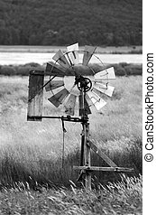 Wind water pump in the south Island of New Zealand. (BW)