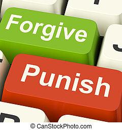punir, pardonner, clés, Spectacles, punition, ou,...