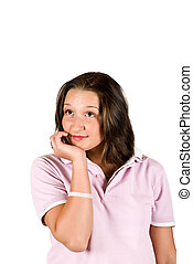 Teenager smile and thinking - Teenager holding her hand at...