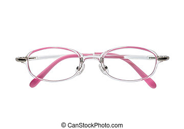 Beautiful pink glasses isolated on white background.