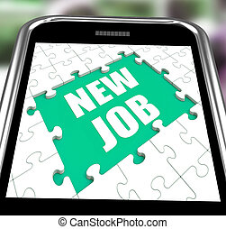 New Job Smartphone Shows Changing Jobs Or Employment - New...