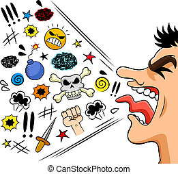 cursing man - cartoon man shouting curses