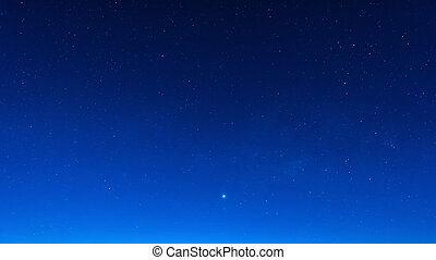 Star in blue sky night time scene - Starry in blue sky night...