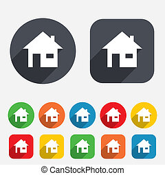 Home sign icon. Main page button. Navigation symbol. Circles...