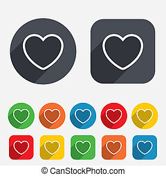 Heart sign icon. Love symbol. Circles and rounded squares 12...