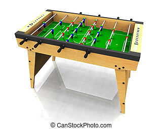 Foosball table. - A wooden foosball table on white...