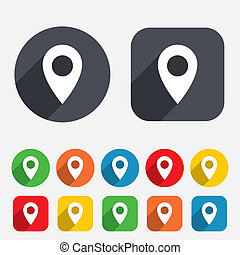 Map pointer icon. GPS location symbol. Circles and rounded...