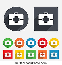 Medical case sign icon. Doctor symbol. Circles and rounded...