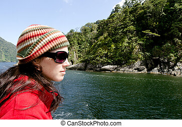 Woman on a cruise boat - Young woman sail on a cruise boat...