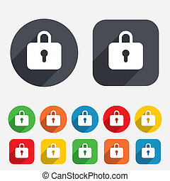 Lock sign icon. Locker symbol. Circles and rounded squares...