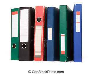 colorful files - various colorful files against white...