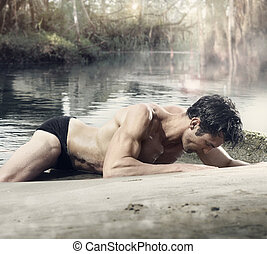 Sexy male - Body portrait of a beautiful fit muscular man on...