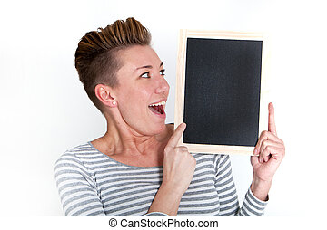 Excited woman looking at a blank tablet