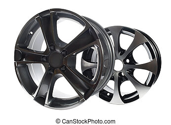 car rims - steel alloy car rims on a white background