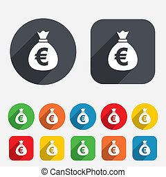 Money bag sign icon. Euro EUR currency. - Money bag sign...