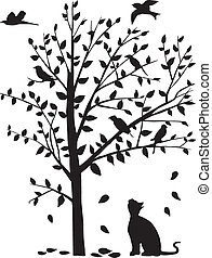 the cat stare the birds on the tree - vector illustration of...