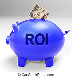 ROI Piggy Bank Means Investors Return And Income - ROI Piggy...