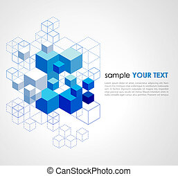 Abstract blue cubes background. - Abstract blue cubes vector...