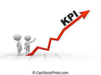 KPI Key performance indicator - 3d people - men, person and...