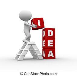 Idea concept - 3d people - men, person and cubes. Idea...