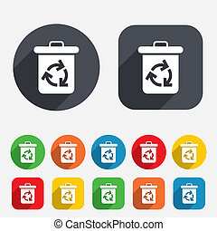 Recycle bin icon. Reuse or reduce symbol. Circles and...