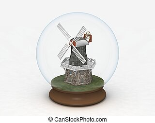 Windmill in a Glass Globe - digital render of a windmill in...