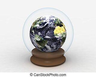 Earth in a Glass Globe