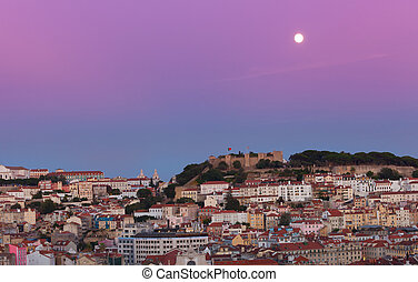 View of night Lisbon in a full moon