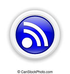 Rss sign icon - Round plastic icon with white design on blue...