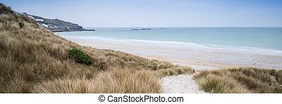 panoráma, táj, keresztül, füves, homok, dűnék, tengerpart