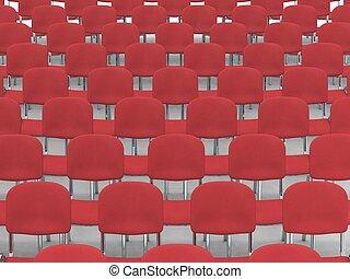 Auditorium - digital render of an empty auditorium of red...