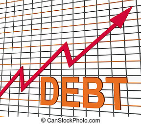 Debt Graph Chart Shows Increase Financial Indebted - Debt...