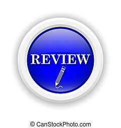 Review icon - Round plastic icon with white design on blue...