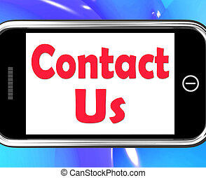 Contact Us On Phone Shows Communicate Online