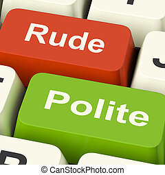 Rude Polite Keys Means Good Bad Manners - Rude Polite Keys...