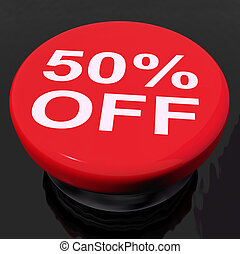 Fifty Percent Button Shows Sale Discount Or 50 Off - Fifty...