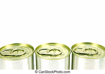 Canned Food - Canned food isolated against a white backgound