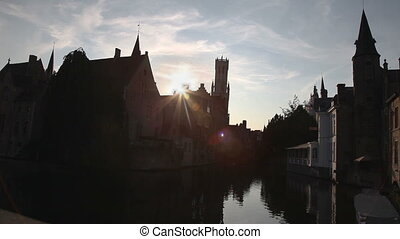 Houses and channel in Bruges