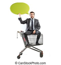 Message of a businessman with shopping cart - Big message of...