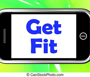 Get Fit On Phone Shows Working Out Or Fitness
