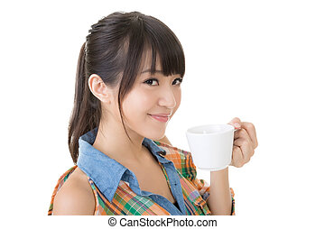 woman hold a cup of coffee - Attractive Asian young woman...