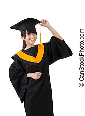 Young asian graduation woman is happy - Happy smiling young...