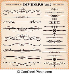 Design elements, dividers, dashes - Set of vector...