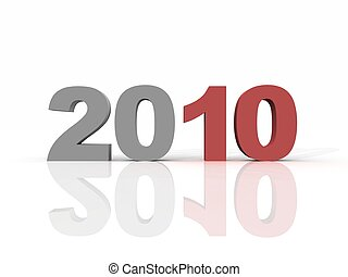 Year 2010 in red and grey