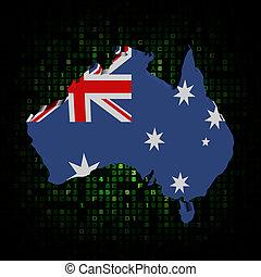 Australia map flag on hex code illustration