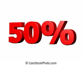 "50 percent - 3d render of the term ""50%\"" on white"