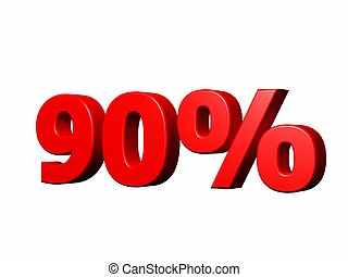 "90 percent - 3d render of the term ""90%\"" on white"