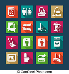 flat cleaning icons set - Flat Vector Black Cleaning Icons...