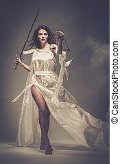 Femida, diosa, Justicia, escalas, espada