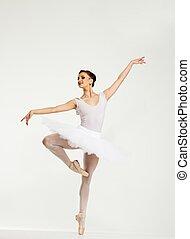 jovem, bailarina, dançarino, tutu, mostrando, dela,...